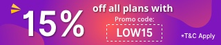 15% Off all plans with promo code LOW15