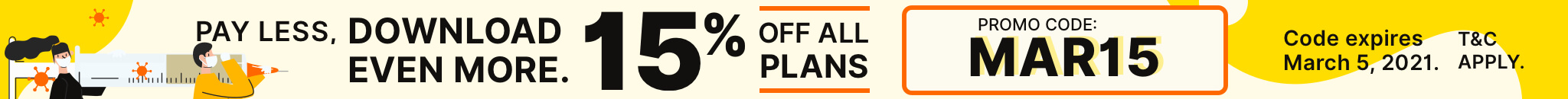 15% Off all plans with promo code MAR15