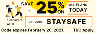 25% Off all plans with STAYSAFE
